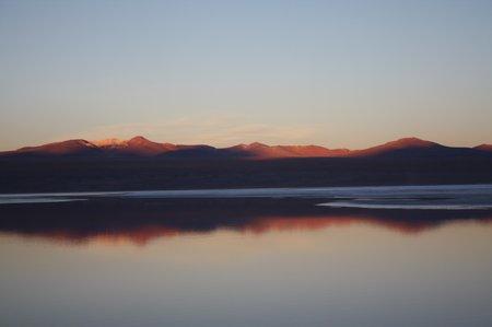 Laguna Colorado, Bolivien, Sonnenuntergang