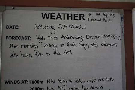 Wettervorhersage auf dem Mount Aspiring Hut